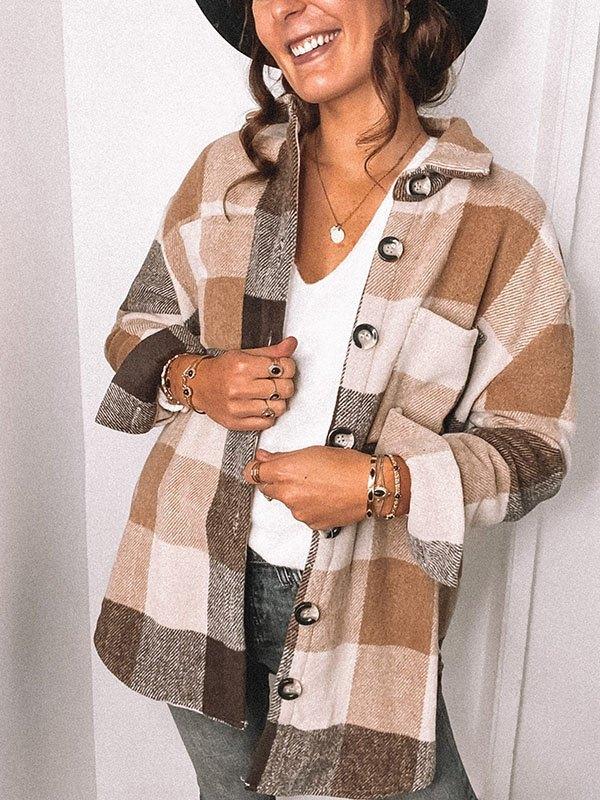 Long Sleeve Plaid Shirt Woolen Jacket - Brown S