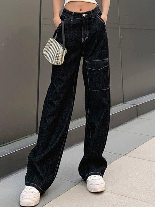 Casual High Waist Straight Cargo Jeans - Black M