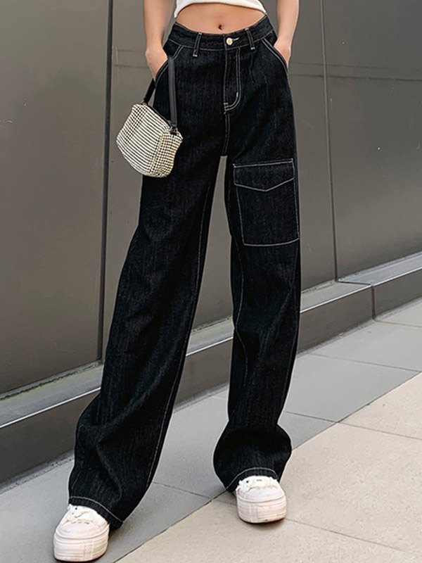 Casual High Waist Straight Cargo Jeans - Black S