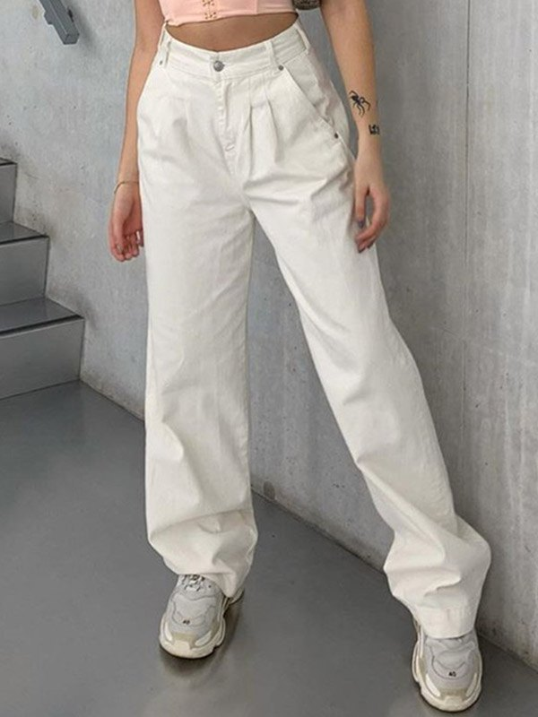 High Waist Cargo Jeans - White S