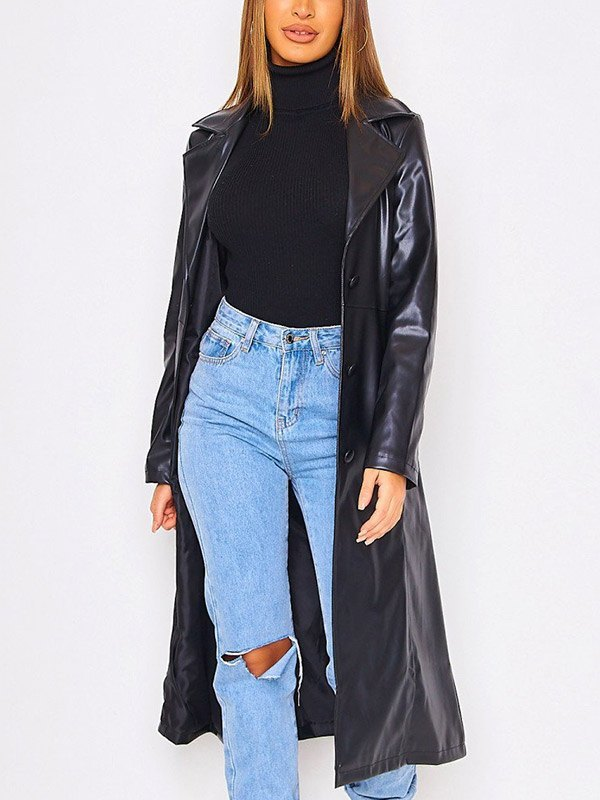 Faux Leather Trench Coat - Black M