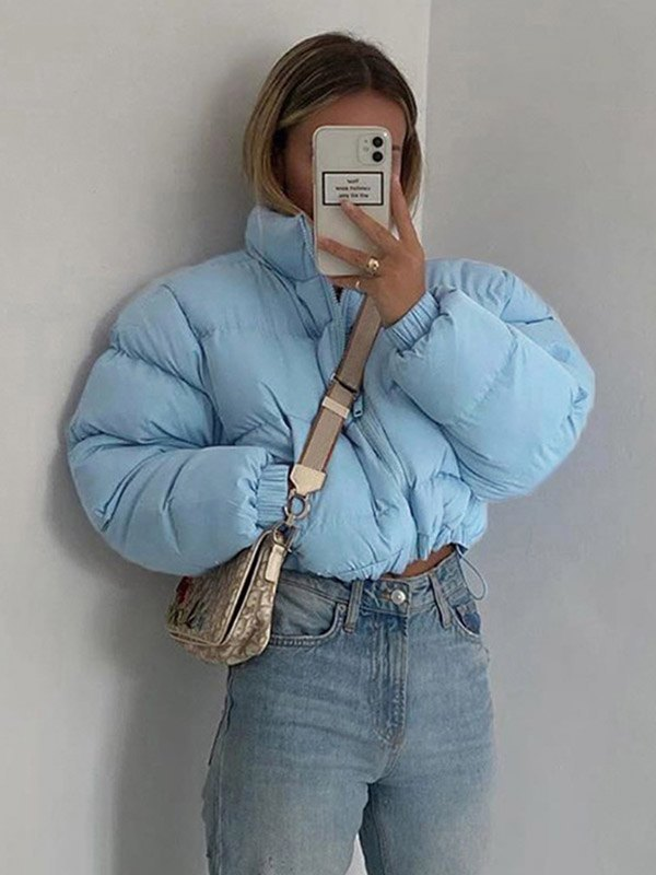 Zip Up Crop Puffer Coat - Blue M