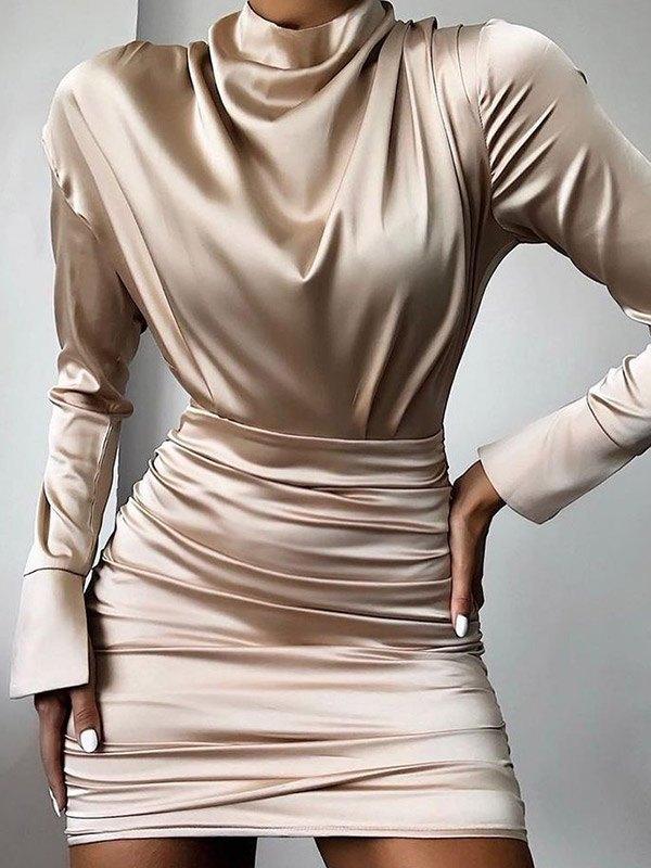 Robe portefeuille en satin à manches longues - Abricot S