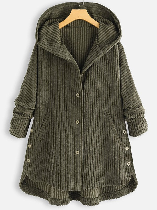 Hooded Corduroy Buttoned Coat - Green M