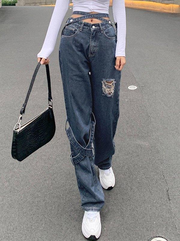 Criss-cross Waist Ripped Boyfriend Jeans - Blue S
