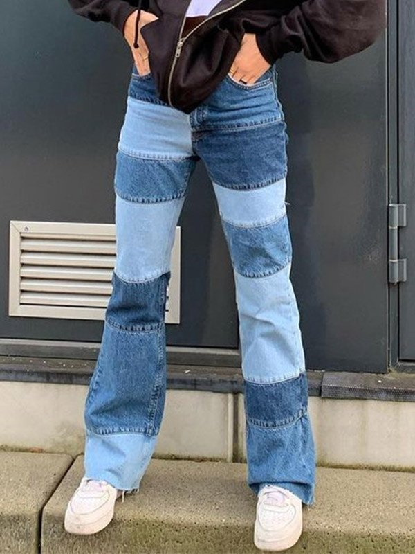 Patchwork High Waist Flare Jeans - Blue S