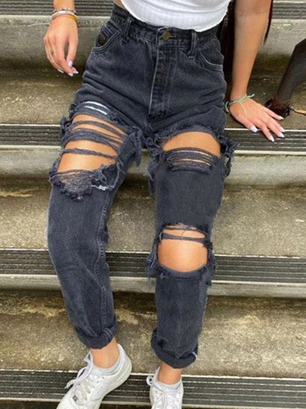 Ripped High Waist Ripped Jeans - Black S