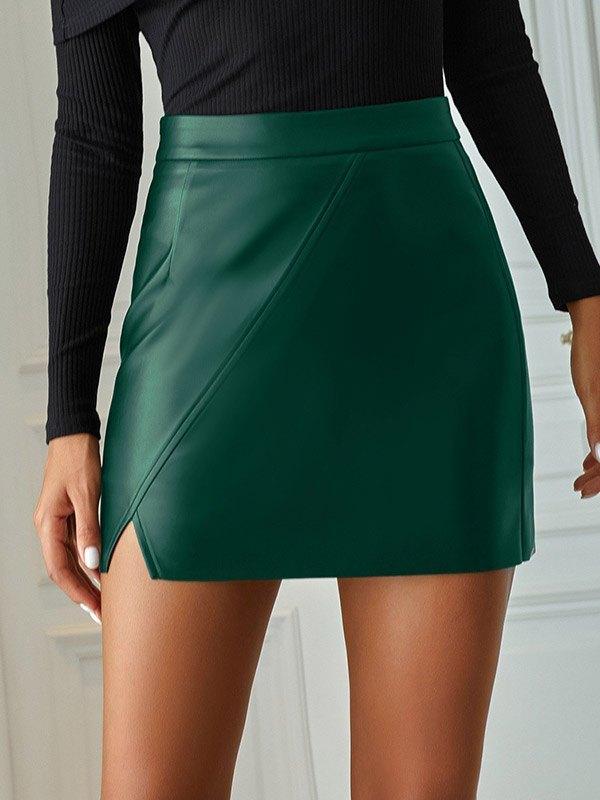 Pu Leather Irregular Mini Skirt - Green M
