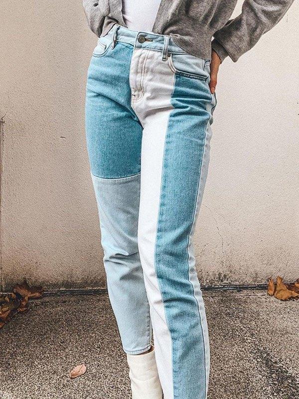 Vintage Patchwork High Waist Slim Jeans - Blue S