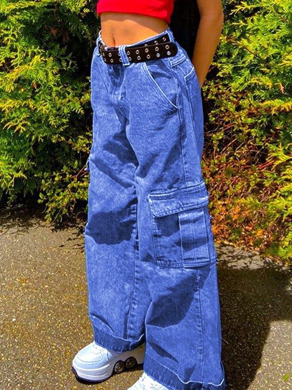 Patchwork Pocket Cargo Jeans - Blue M