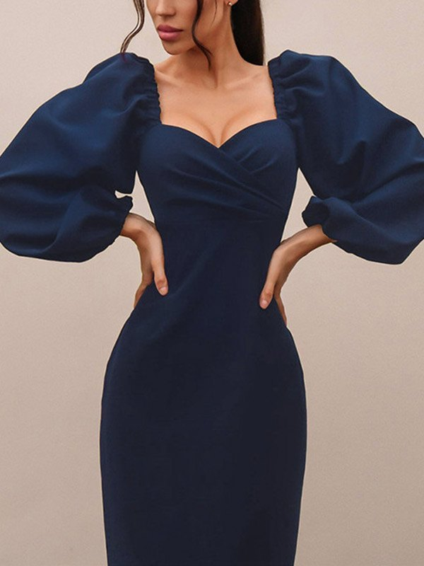 Bodycon Long Sleeve Dress - Blue S