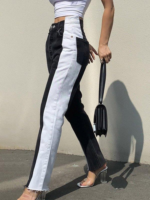 Color Block High Waist Boyfriend Jeans - Black 2XL