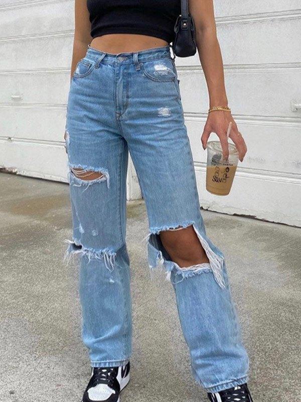 Ripped Straight Boyfriend Jeans - Blue S