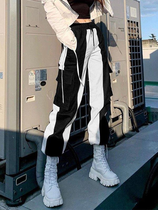Contrast High Waist Drawstring Cargo Jeans - Black S