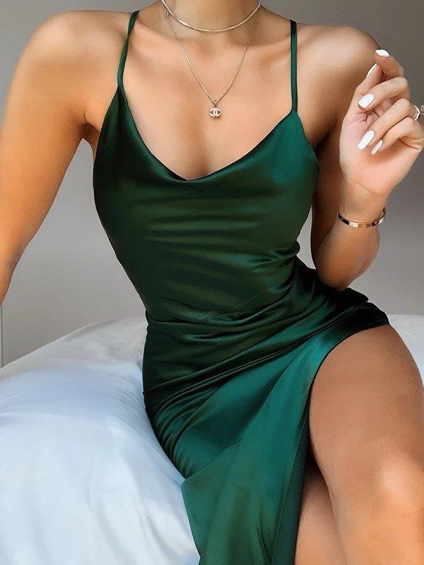 Side Split Cami Maxi Dress - Green S