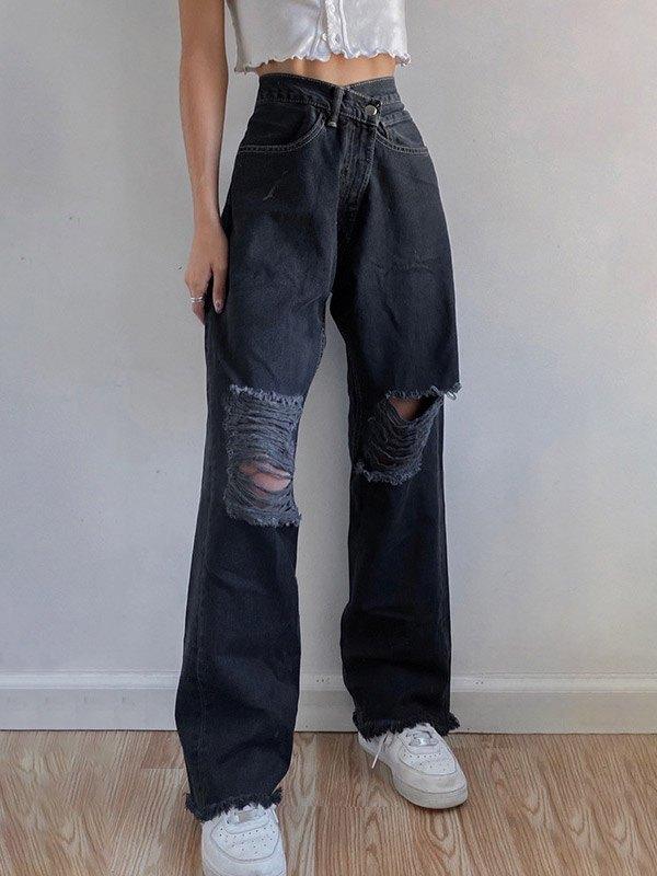 Ripped High Rise Boyfriend Jeans - Black S