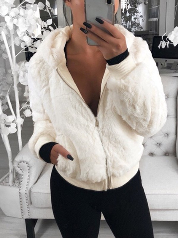 Hooded Zip Up Fuzzy Jacket - White M