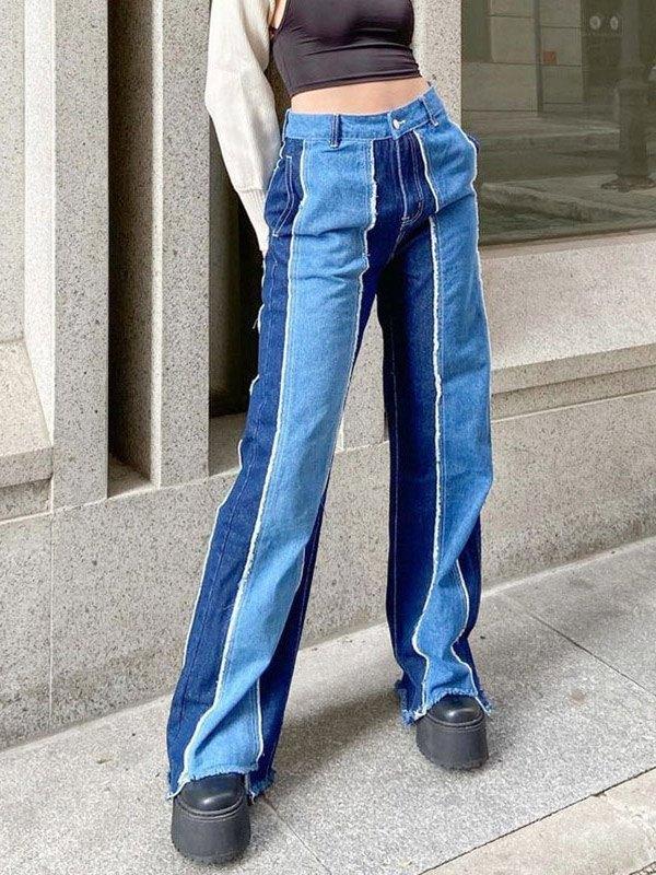Patchwork High Rise Frayed Boyfriend Jeans - Blue M