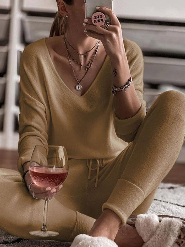 Knitted Homewear Lounge Set - Brown L