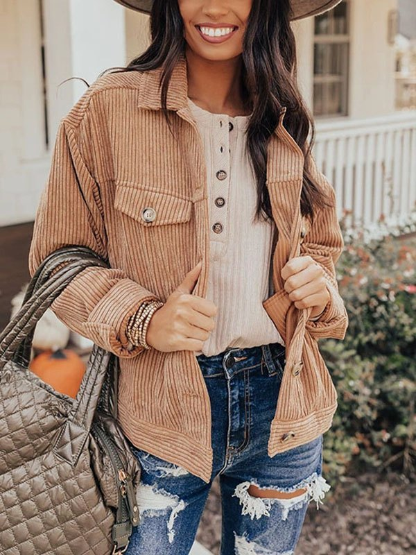 Button Up Corduroy Jacket - Brown S