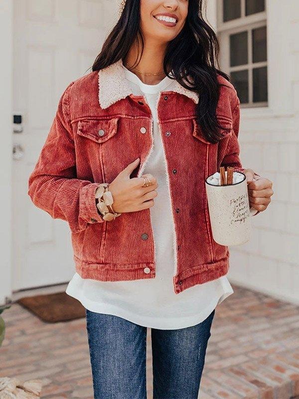 Corduroy Sherpa Jacket - Pink M