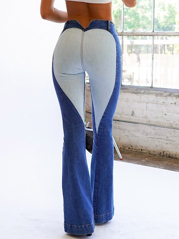 Heart Patched High Waisted Flare Jeans - Blue XL