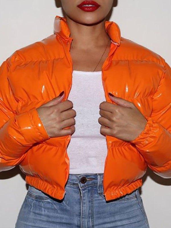 Zip Up Puffer Jacket - Orange XL