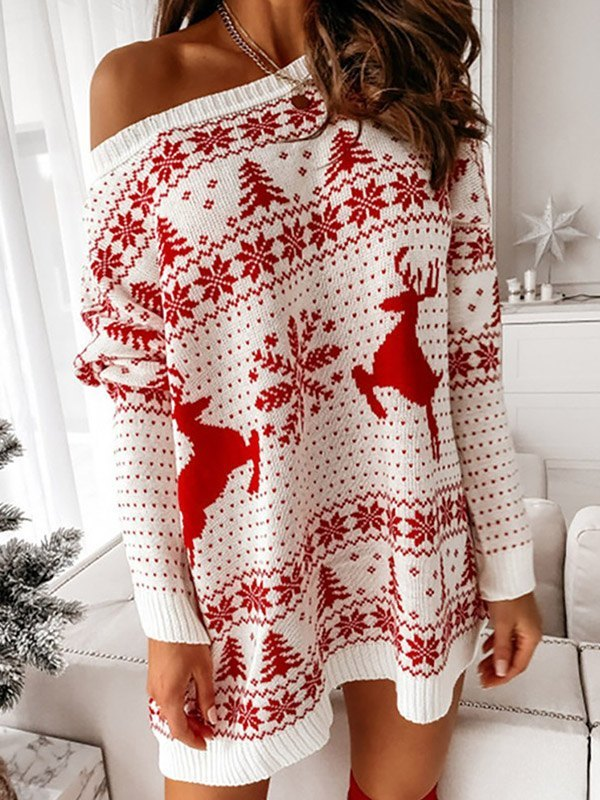 Christmas Jacquard Knitted Sweater Dress - Red S