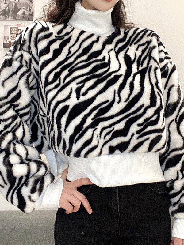 Turtleneck Zebra Print Fleece Sweatshirt - White M