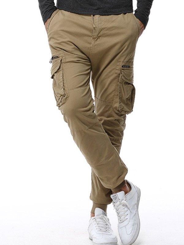 Men's Elastic Waist Cargo Pants - Khaki S