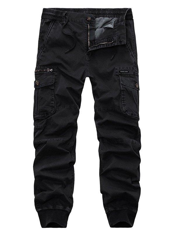 Pantaloni cargo da uomo in vita elastica - Nero M