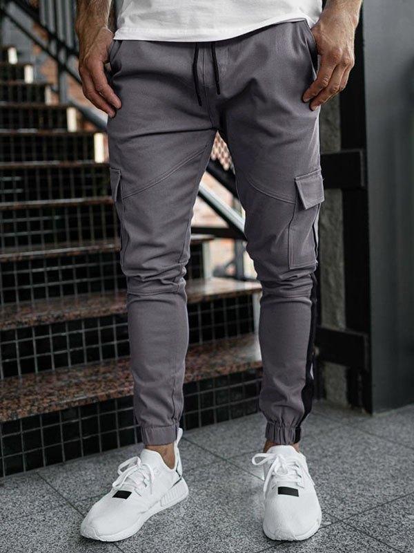 Men's Patchwork Drawstring Cargo Pants - Gray M