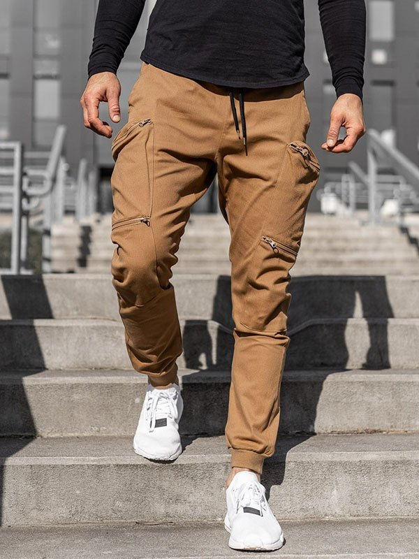 Men's Zipper Pocket Cargo Pants - Khaki M