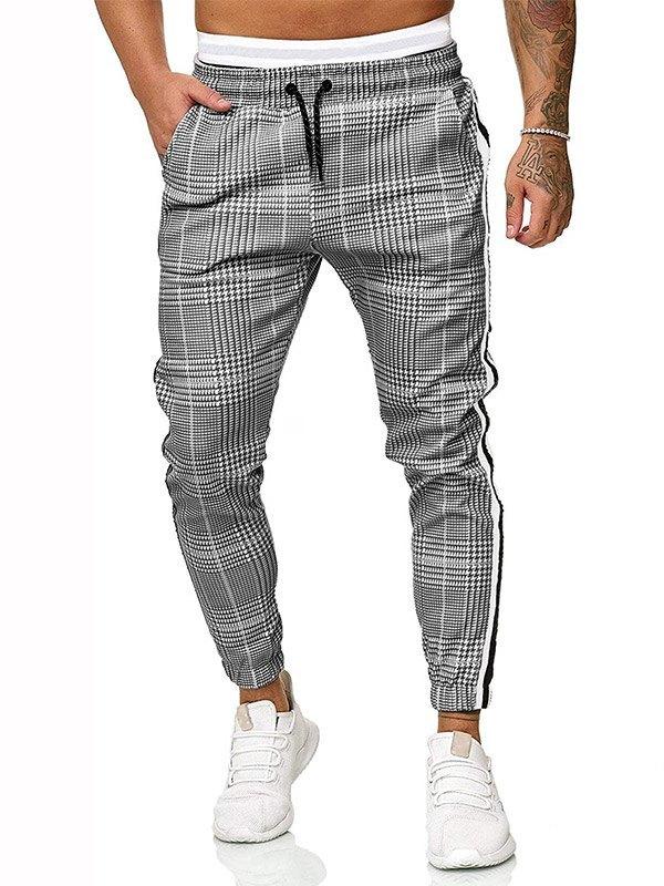 Men's Plaid Drawstring Casual Pants - Gray L
