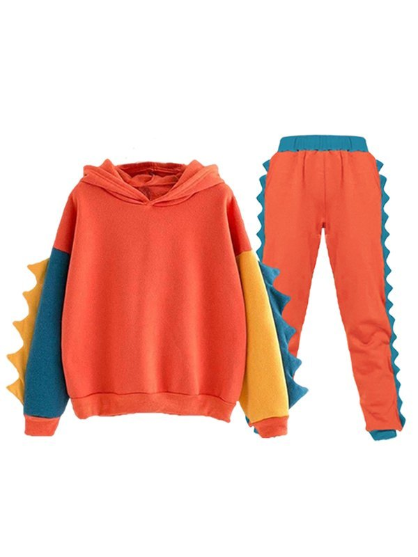 Dinosaur Horn Color Block Tracksuit Set - Orange S