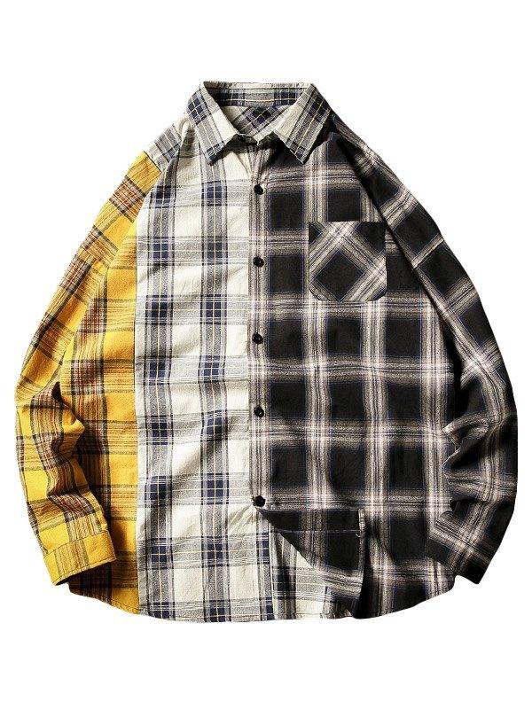 Chemise boutonnée à carreaux avec blocs de couleurs pour hommes -