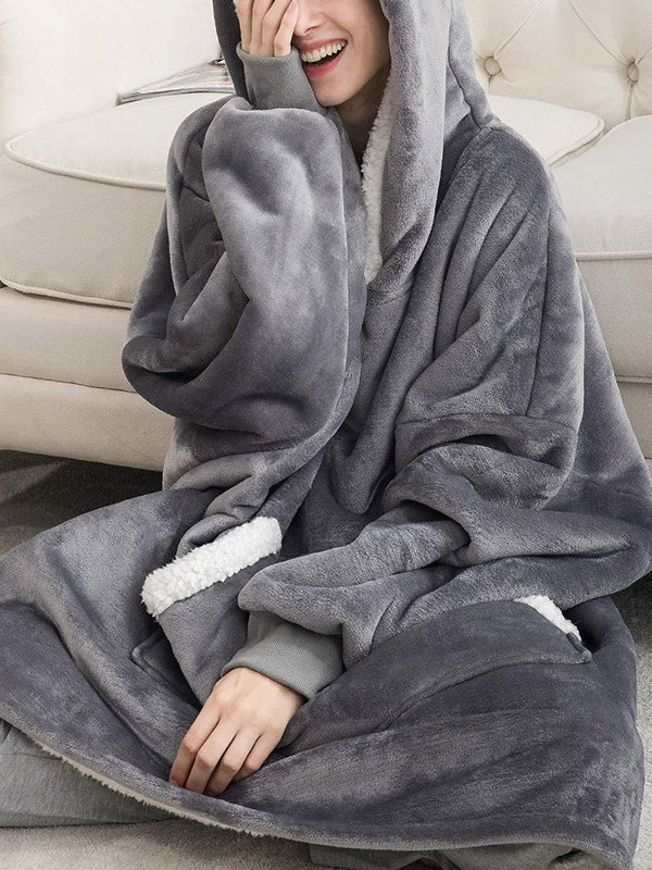 Sherpa Lined Lounge Blanket Hoodie - Gray ONE SIZE