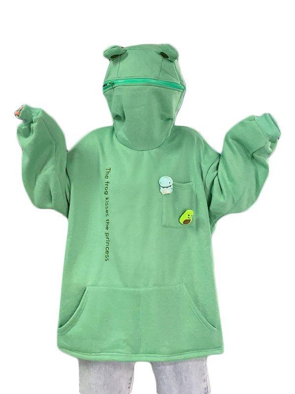 Frog Lounge Zipper Hoodie - Green M
