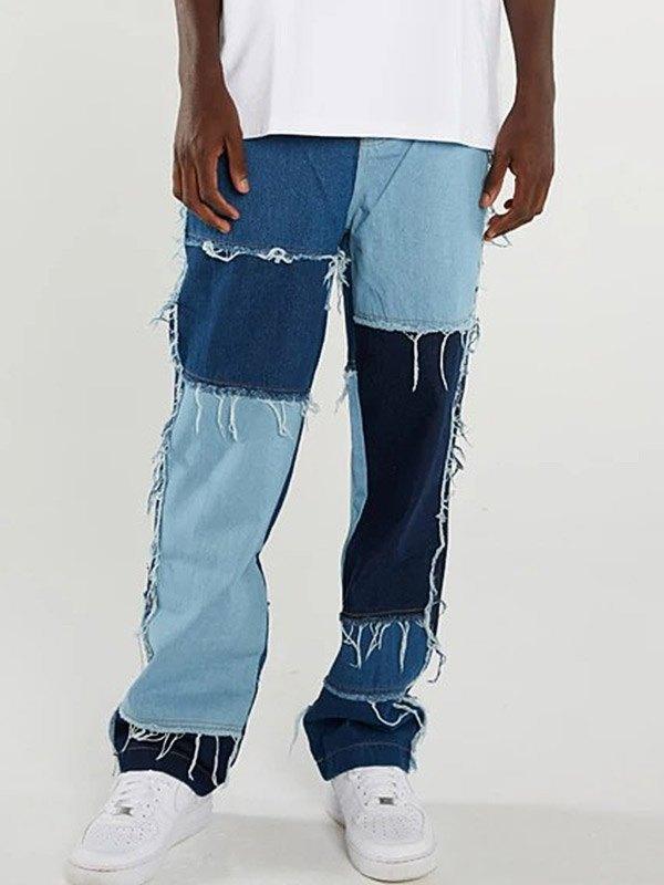 Jean Skate Effiloché Patchwork Homme - Bleu XL