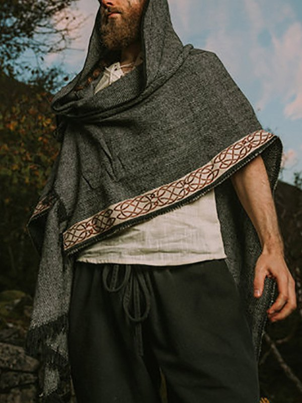 Men's Irregular Poncho Hoodie - Dark Gray M