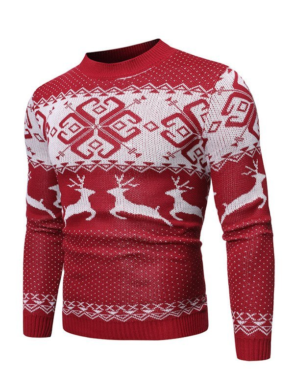 Chandail de Noël à imprimé élan de flocon de neige pour homme - Rouge L