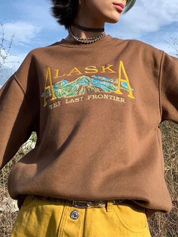 Alaska Graphic Embroidered Sweatshirt - Coffee M