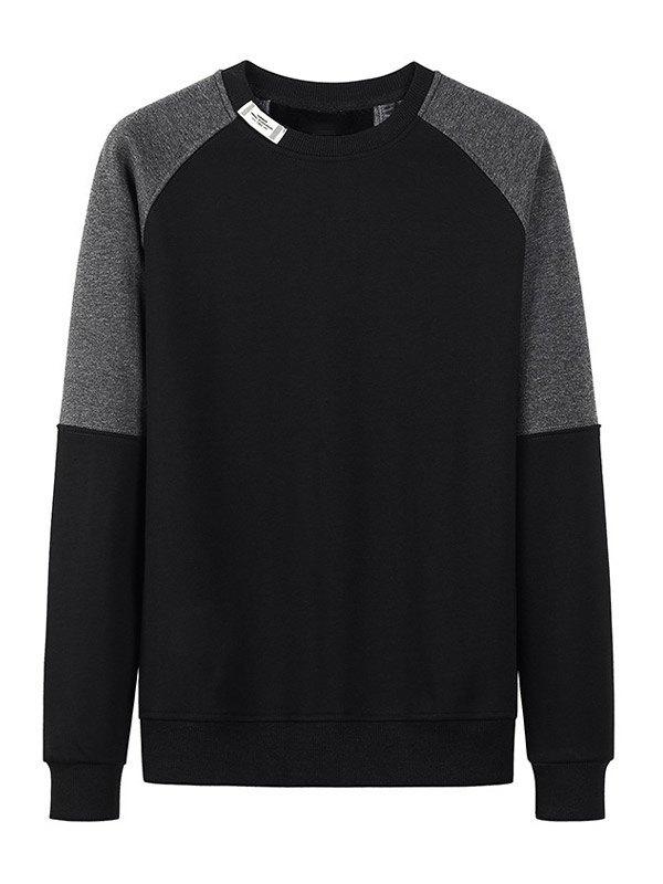 Sweat-shirt contrastant pour hommes - Noir M