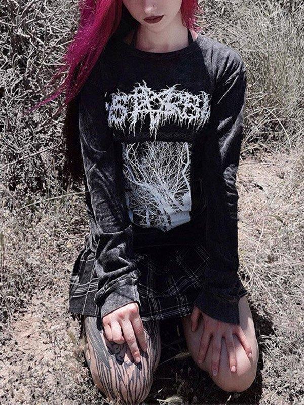 Printed Pullover Sweatshirt - Black S
