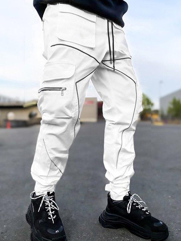 Pantalon cargo deux tons pour hommes - Blanc XL