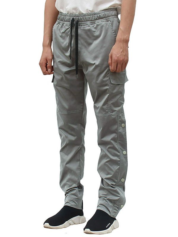 Pantaloni cargo da uomo con bottoni - Grigio 2XL