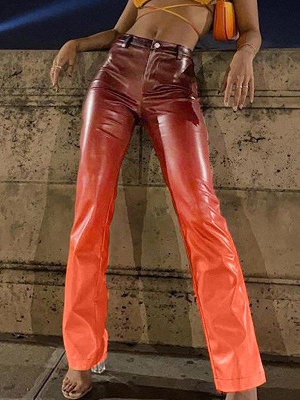 Ombre High Waist Straight Pants - multicolorple Colors L