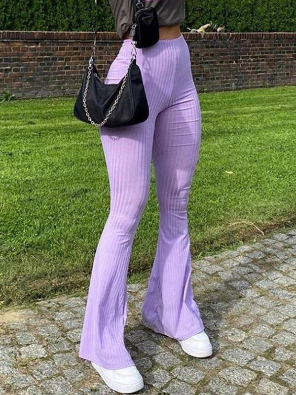 Rib Knit High Waist Flare Pants - Lilac S