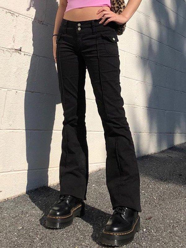 Vintage Low Rise Woven Pants - Black M