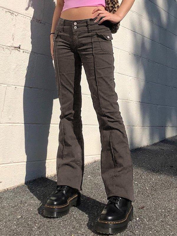 Vintage Low Rise Woven Pants - Brown L